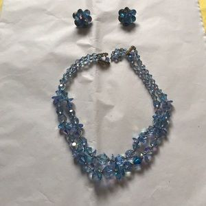 Clear blue beaded 2strand necklace AND earrings
